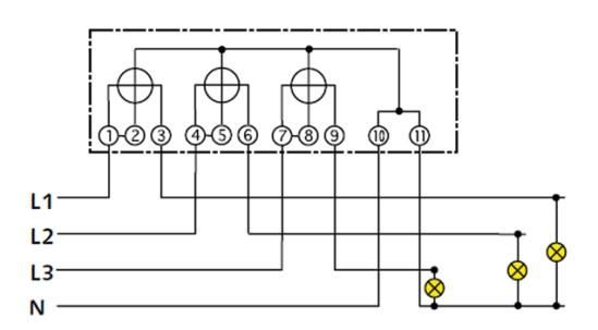 Схема подключения трёхфазного электросчетчика через трансформатор.